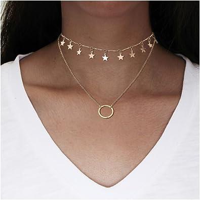 Gold Silver double dangle Chain Long Crystal bead Choker Necklace Women