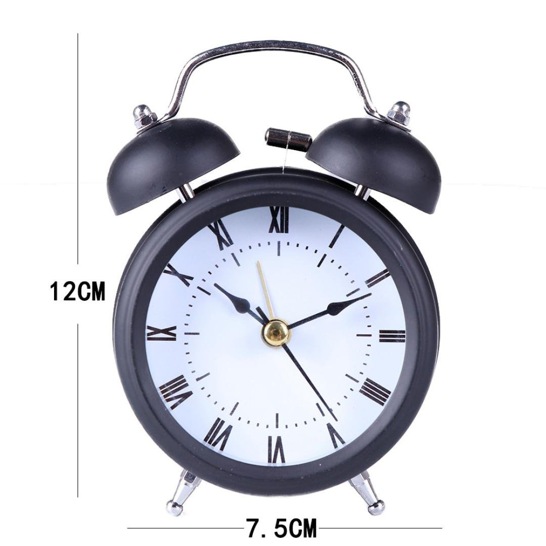 Mamum kreative Uhr einfache Metallh/ülle Klassische Zwei-Wege-Wecker Glocke Hauptverzierenentwerfer one Size pink
