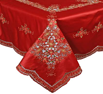 Superieur Creative Linens Holiday Christmas Embroidered Poinsettia Tablecloth  70x90u0026quot; ...