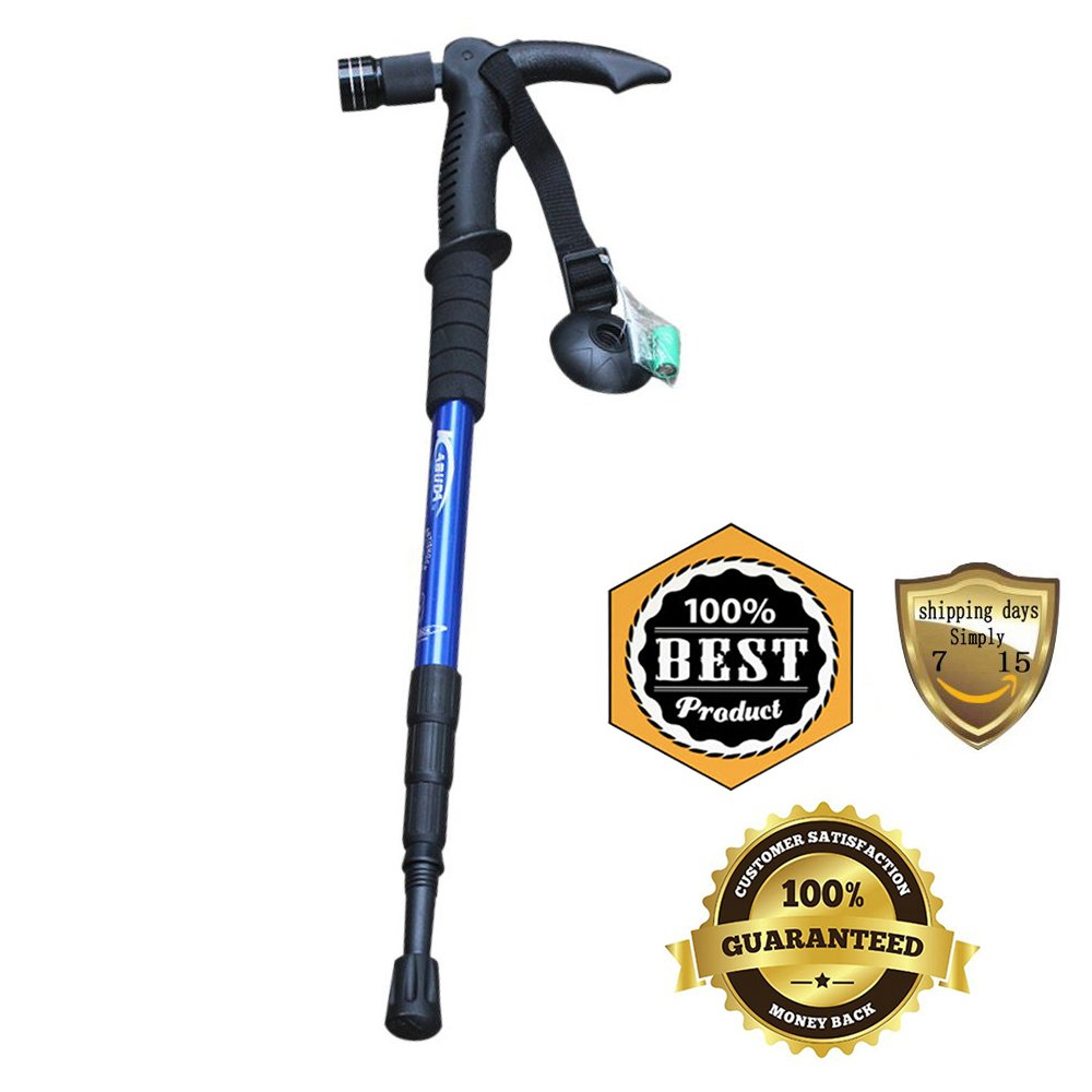 Meanhoo Telescopic Blue 5LED Hiking Trekking Sticks Poles with Camera Mount Tips and Nonskid Shock-Resistant for Wading Nordic Walking Trail Beach, Climbing Rocks or Boulder Backpacking Tent Emergency Survival Gear Fishing etc Aluminum Alloy Adjustable fr by Meanhoo