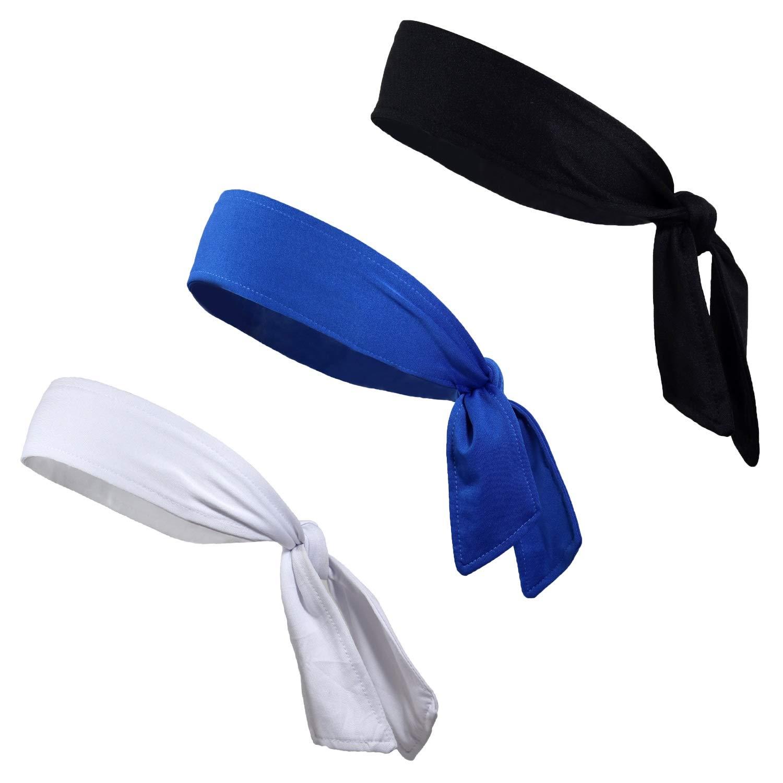 Kenz Laurenz Tie BackヘッドバンドMoisture WickingアスレチックスポーツヘッドバンドYouピック色3パックBK / BL / RD )   B07B4QLRZG