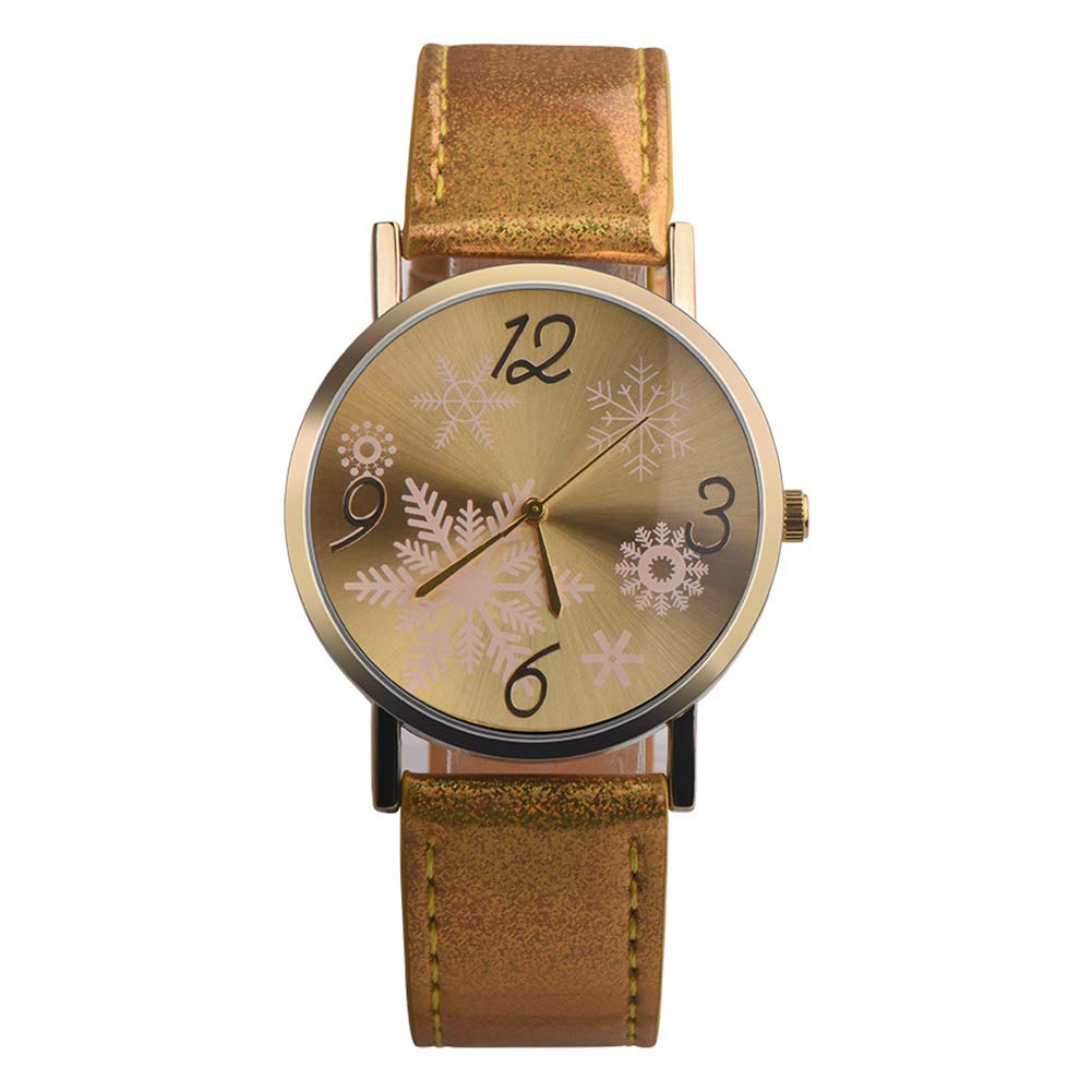 YaptheS Minimalist Style Leather Strap Casual Watch Snow Pattern Big Dial Plate Quartz Wristwatch for Women Christmas Gift-Gold Christmas Style