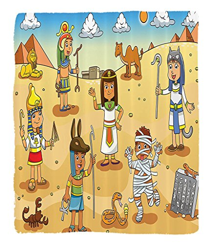 Chaoran 1 Fleece Blanket on Amazon Super Silky Soft All Season Super Plush Cartoon Decor etIllustration Of Historical Egyptian Characters With Pyramids Cleopatra King Mummy Child Decor (Halloween Mummy Hot Dog Recipes)