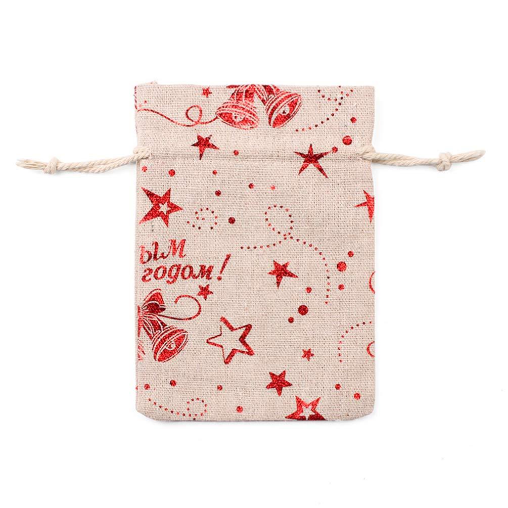 SUPVOX 10pcs Sac de Cordon de no/ël Toile de Jute Toile de Jute Rouge Star Bell Sac Cadeau Cadeau faveur saisonni/ère