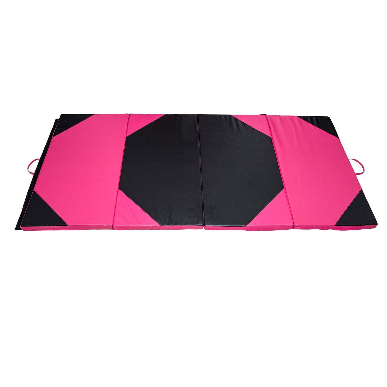 Gymnastics Mat 4' x 8' x 2''Martial Arts Aerobics Exercise Yoga Tumbling Pad Pink/Black With Ebook