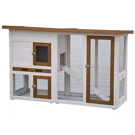 @Pet Conejera Exterior Madera Jaula Cobayas Conejos Casa Gallinero Cerramiento