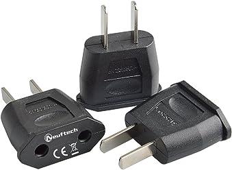 Neuftech 3 x Adaptador de Viaje Conector de Euro de Hembra a Conector de Estados Unidos