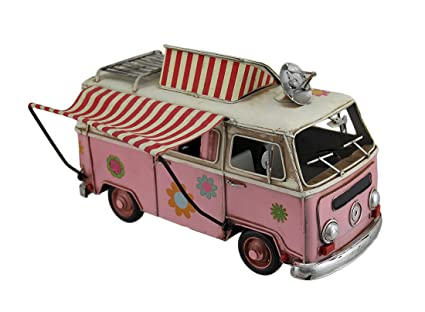 Amazoncom Zeckos Vintage Look Pink Hippie Camper Wagon Statue