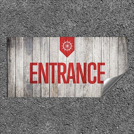 CGSignLab |''Entrance -Nautical Wood'' Heavy-Duty Industrial Self-Adhesive Aluminum Wall Decal | 24''x12''