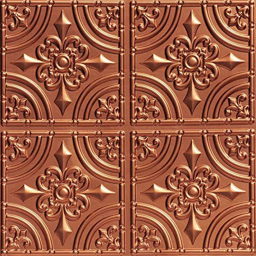 (Wrought Iron-Faux Tin Ceiling Tile -Copper 25-Pack)