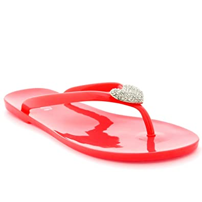 8ec471ec735f58 Viva Womens Summer Holiday Diamante Heart Jelly Shoes Beach Flip Flops  Sandals - Coral - 9
