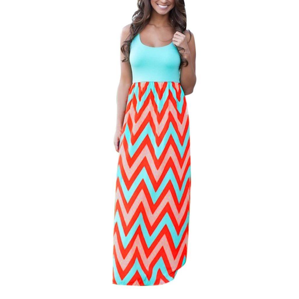Tenworld Women's Striped Casual Maxi Dress Zig Zag Scoop Neck Tank Maxi Long Dress (L, Blue)
