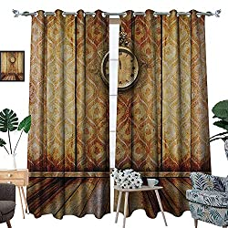 Warm Family Victorian Blackout Window Curtain Antique Clock on Medieval Style Wall Wooden Floor Classic Architecture Theme Art Customized Curtains W120 x L96 Beige Brown