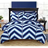 Chic Home 3-Piece Piper Chevron Printed Reversible Duvet Cover Set, King, Navy