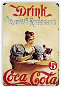 Ovonetune Vintage Metal Tin Signs Coke Cola at in Bottles Retro Wall Art Decor Posters Fun Home Farm Bathroom Bar Man Cave Bedroom Parlor Cafe Store Garage Plaque 12x8 Inch