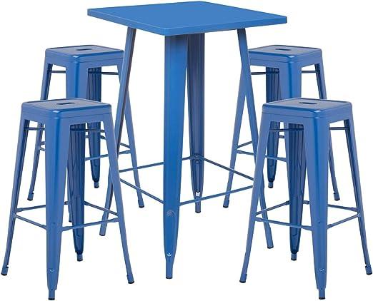 SKLUM Pack Mesa Alta LIX & 4 Taburetes Altos LIX Acero Azul ...