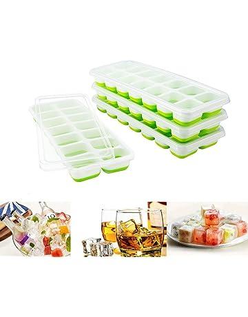 4 Bandejas Hielo Grande con Tapa - Silicona Alimentaria Flexible/Cubo Enorme 4 * 3cm