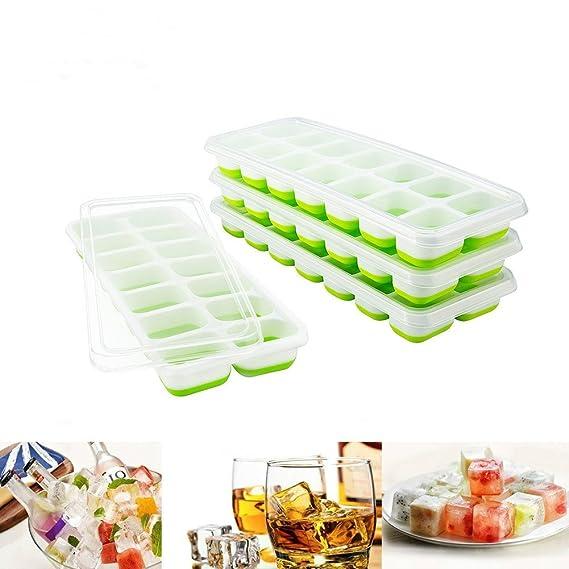 Towinle 4Stk Eiswuerfelformen mit Deckel 14-Fach Eiswürfelbehälter mit LFGB Zertifiziert Babynahrung Einfrieren Behälter Eisw