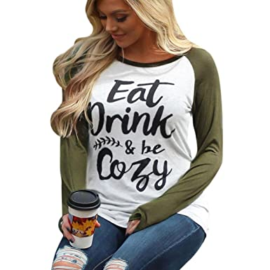 5f5409a8ae9c3 Sannysis Winter Womens Plus Size Letter Print Cotton Tops Long Sleeve  O-Neck Casual Green