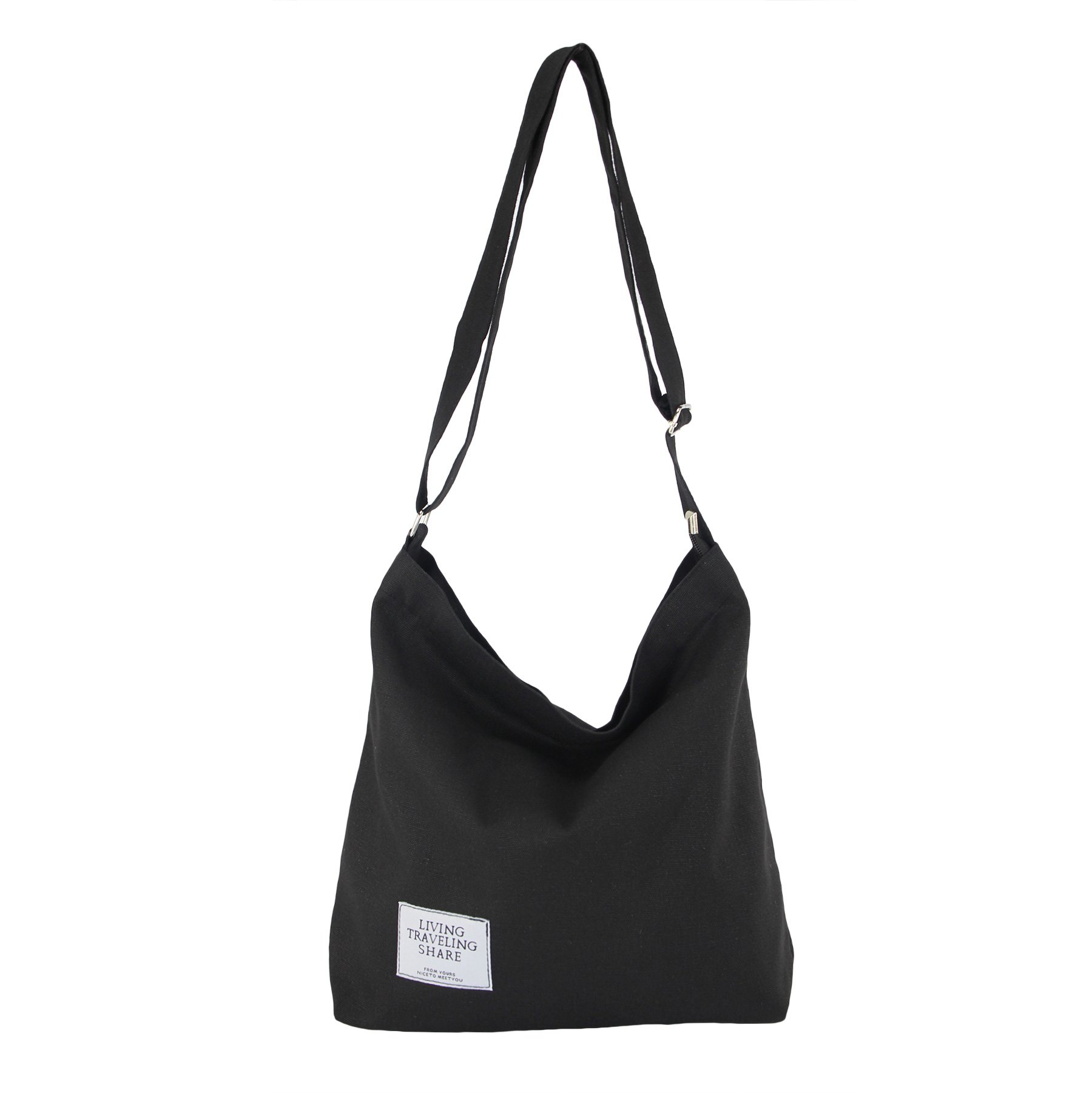 Womens Canvas Crossbody Hobo Bag Large Tote Shoulder Purse with Zipper Casual Work Travel Bags… (New Black)
