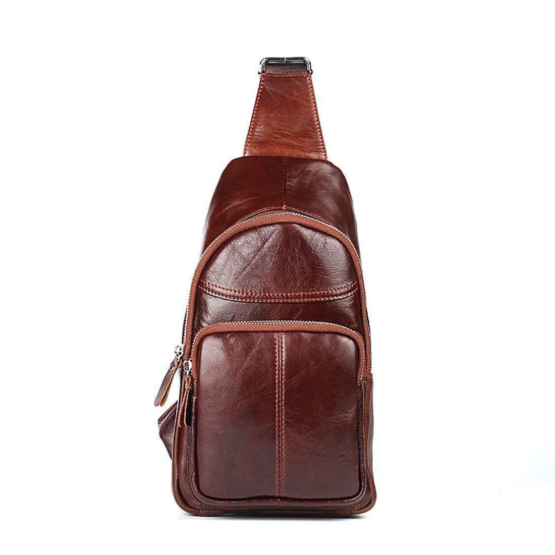 Carriemeow 本革 メンズ チェストバッグ レジャー ウエストバッグ ユース バッグ 旅行 バックパック ショルダーバッグ (色:写真カラー) B07L5MKKMP