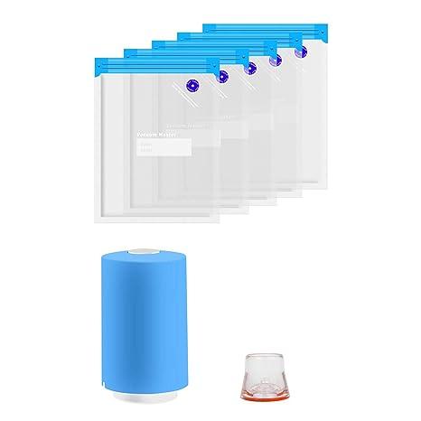 SODIAL Bolsas Kit con Mini USB Vacío Bomba Eléctrica Bolsas De Almacenamiento De Alimentos Reutilizables Al Vacío (5 Piezas)