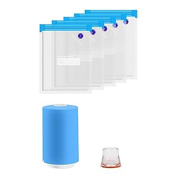 TOOGOO Bolsas Kit con Mini USB Vacío Bomba Eléctrica Bolsas De Almacenamiento De Alimentos Reutilizables Al Vacío (5 Piezas)