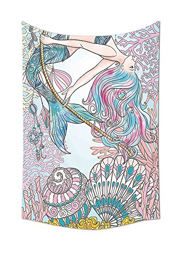 Mermaid Tapestry Decor Cartoon Mermaid in Sea Sirens of Greek Myth Female Human with Tail of Fish Image Wall Hanging for Bedroom Living Room Dorm Pink (Halloween By The Name Iron Maiden)