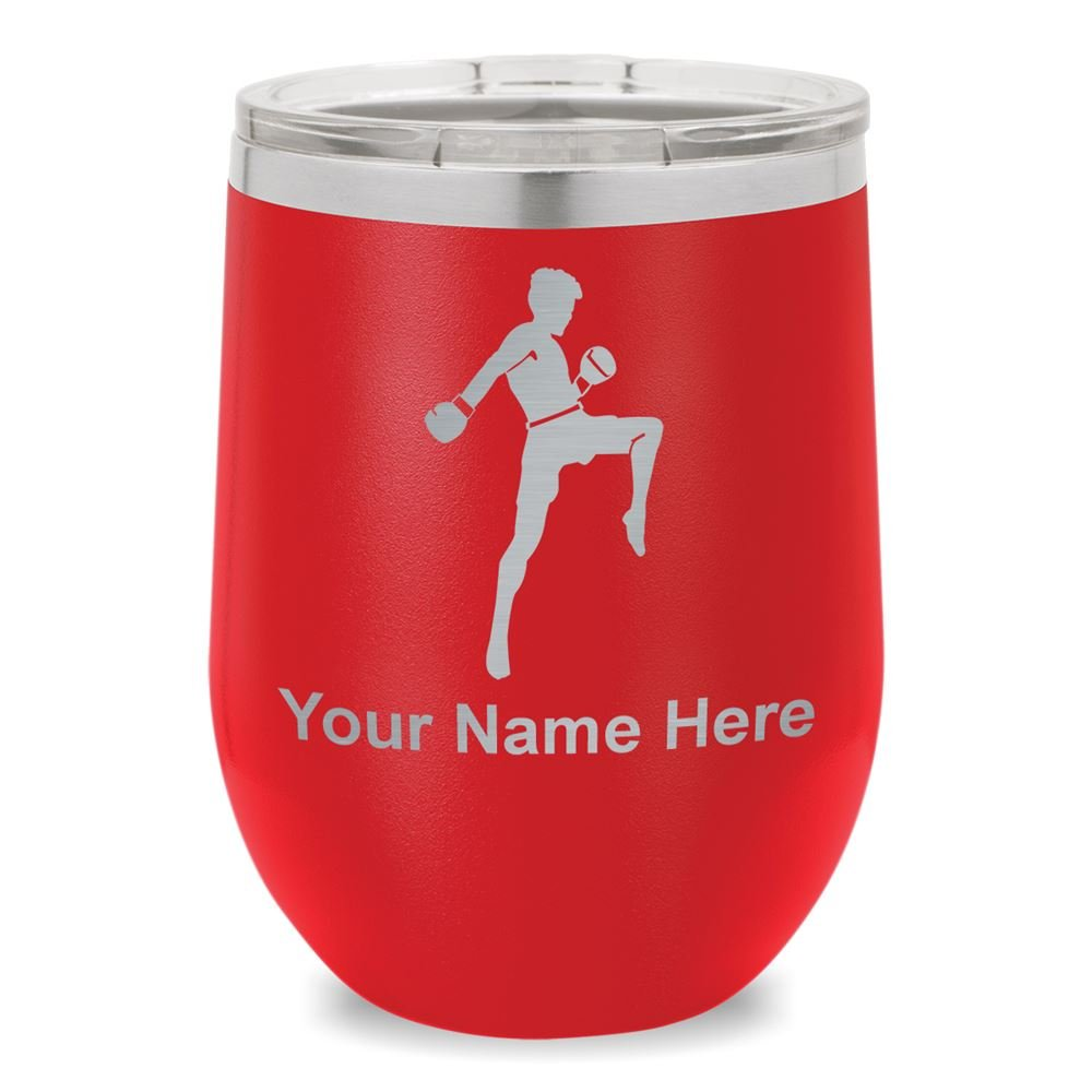 Wine Glass Tumbler, Muay Thai Fighter, Personalized Engraving Included (Red)
