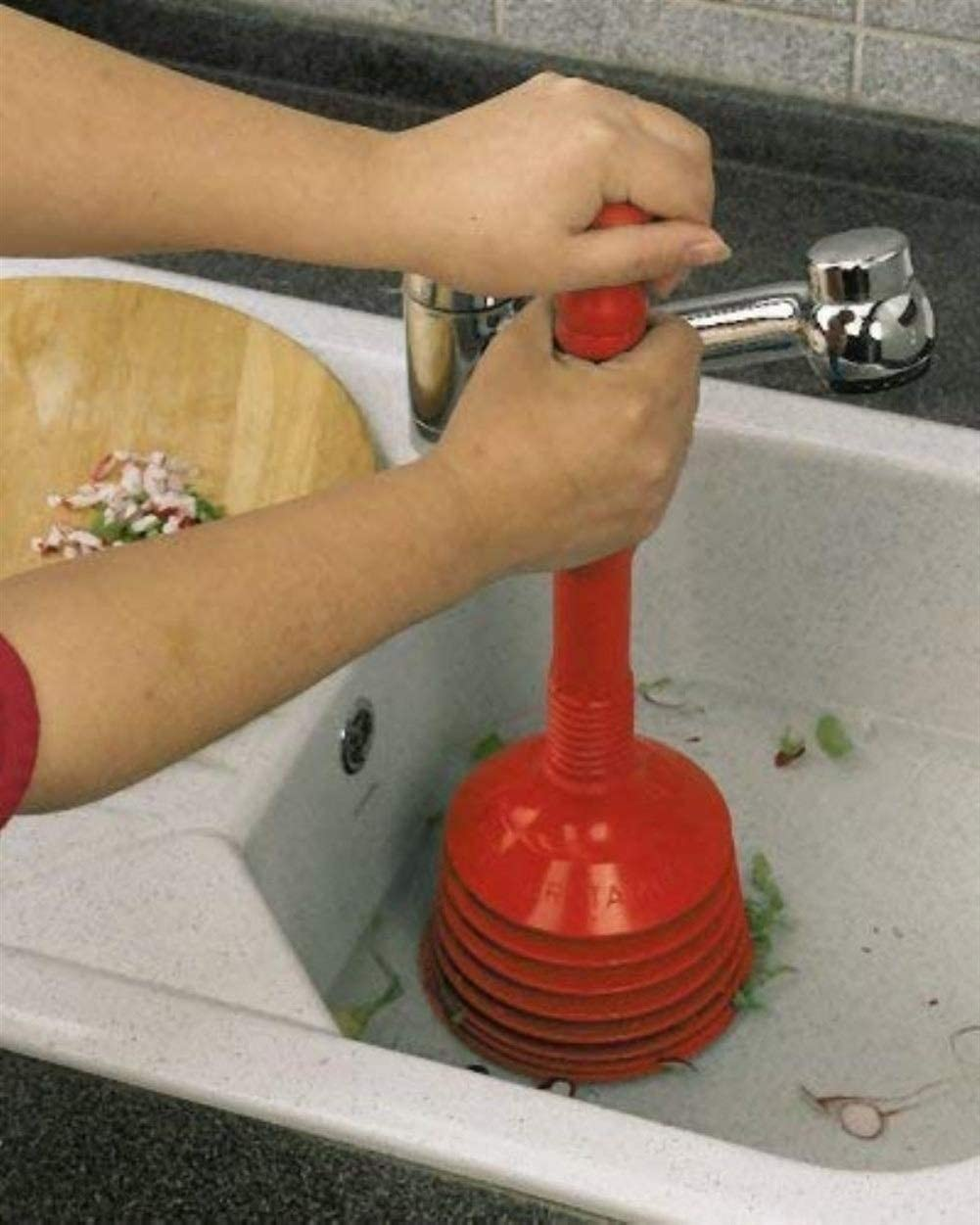 MAOX Professional Toilet Plunger,Detachable Heavy Duty Toilet Plunger for Clogs from Clogged Bathroom Toilets,Red