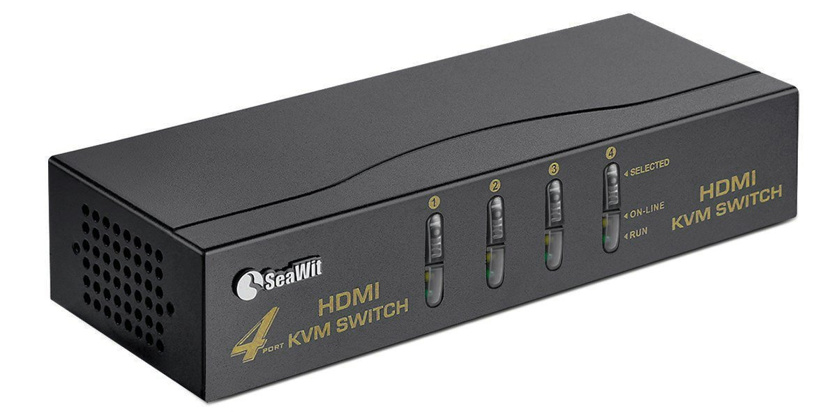 Sea Wit HDMI KVM Switch 4 Ports + 4 Sets of HDMI & USB-B Cables + a Mouse Supports 1080P EDID 3D and Auto Scan