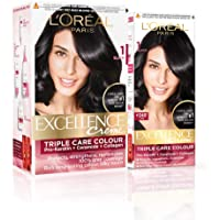 L'Oreal Paris Excellence Creme Hair Color, 1 Black, 222g (172ml+50ml) - Combo pack of 2