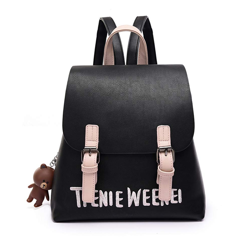 LDHY Backpack Female New Small Backpack Korean Bag Soft Leather Wild Student Bag College Style by LDHY