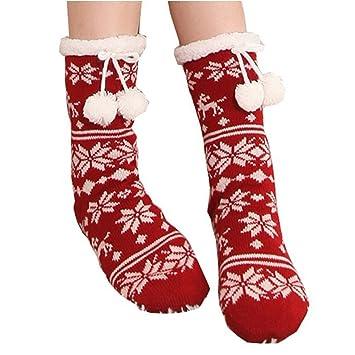 Zoylink Calcetines De Mujer Calcetines De Invierno Tejido De Forro Polar De Copo De Nieve Calcetines De Tubo De Navidad: Amazon.es: Deportes y aire libre