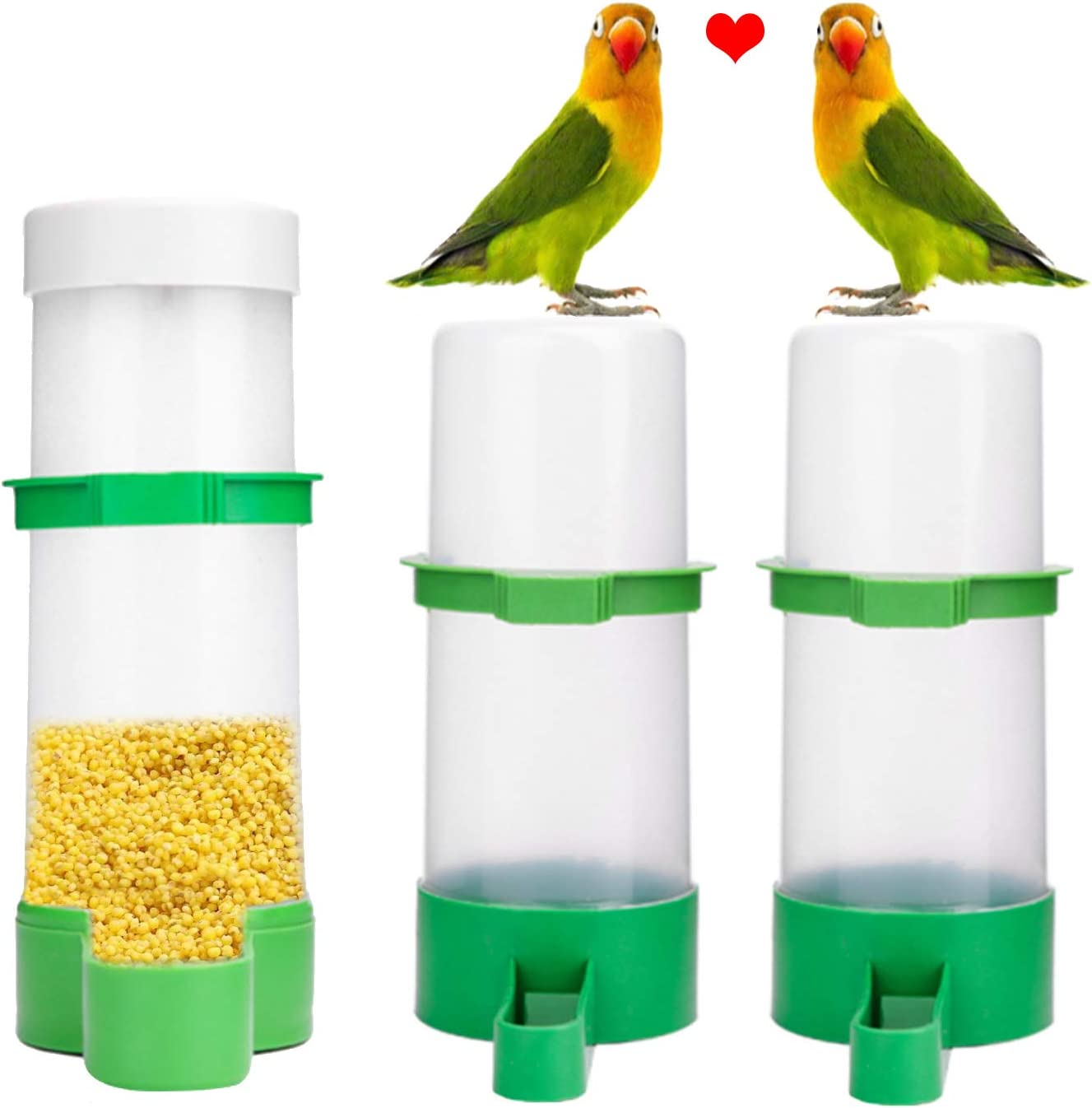 XISTEST Bird Water Feeder, 2PCS Bird Water Bowl with 1PCS Food Feeder for Pet Parrot and Other Birds Budgie Lovebirds Cockatiel Cage (2pcs 140ml + 1pcs 150ml)