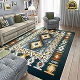 HIGOGOGO Mediterranean Style Lving Room Carpet, 70 by 70 inch Ultra Soft Short Flannel Dark Blue Large Area Rug Bedroom Living Room Children Play Mat, Fashion Play Mat Door Mat