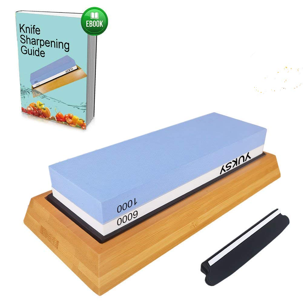 Premium Knife Sharpening Stone Kit, 2 Side 1000/6000 Grit Whetstone, Best Kitchen Blade Sharpener Stone, Non-Slip Bamboo Base & BONUS Angle Guide Included for Chef, Kitchen, Pocket Knife and Scissors