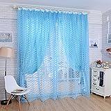 Rose Pattern Tulle Door Window Divider Voile Drape Curtain Valance Blue