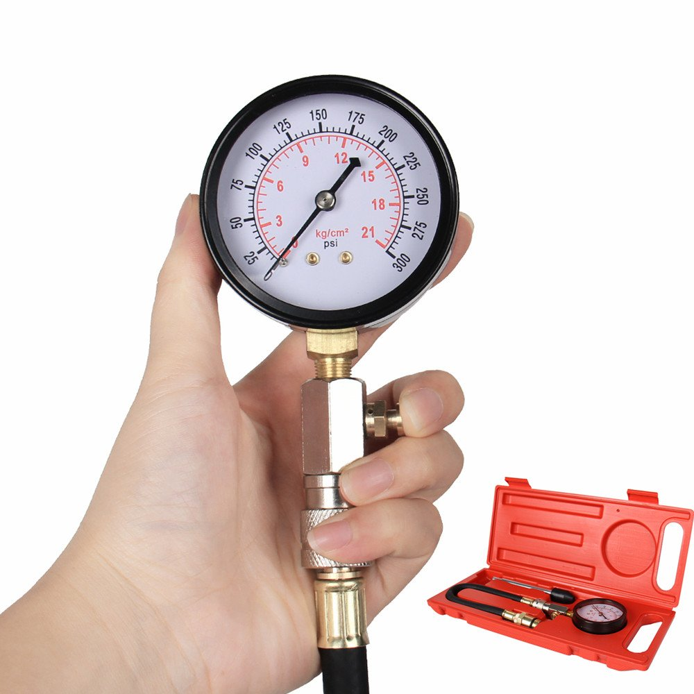Bang4buck Heavy Duty 0~300 PSI Fuel Pressure Tester G324 G-324 Gasoline Engine Compression Kit for Car, Motorcycle, Truck, RV, SUV & ATV
