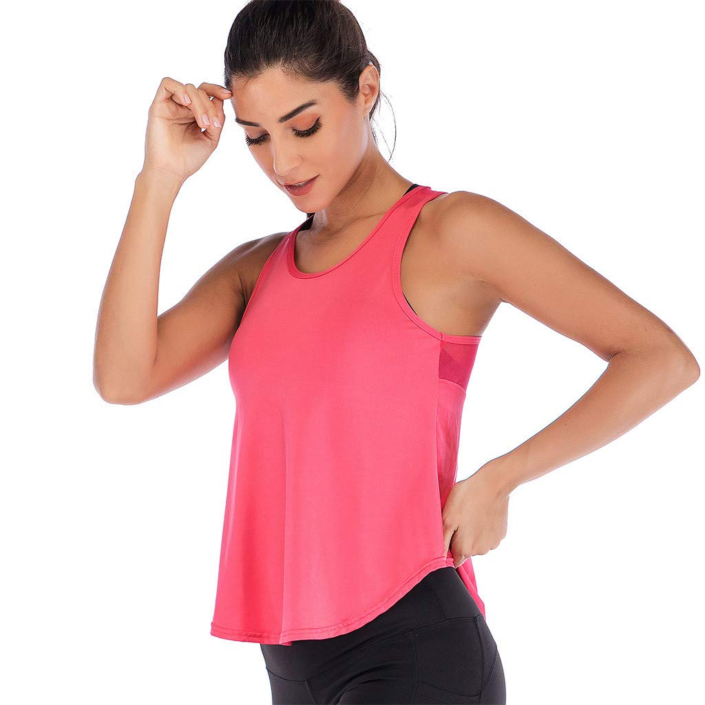 Mlide Womens Womens Summer Solid Color Shirts Sleeveless Casual Racerback Workout Tank Tops Watermelon Red by Mlide (Image #2)