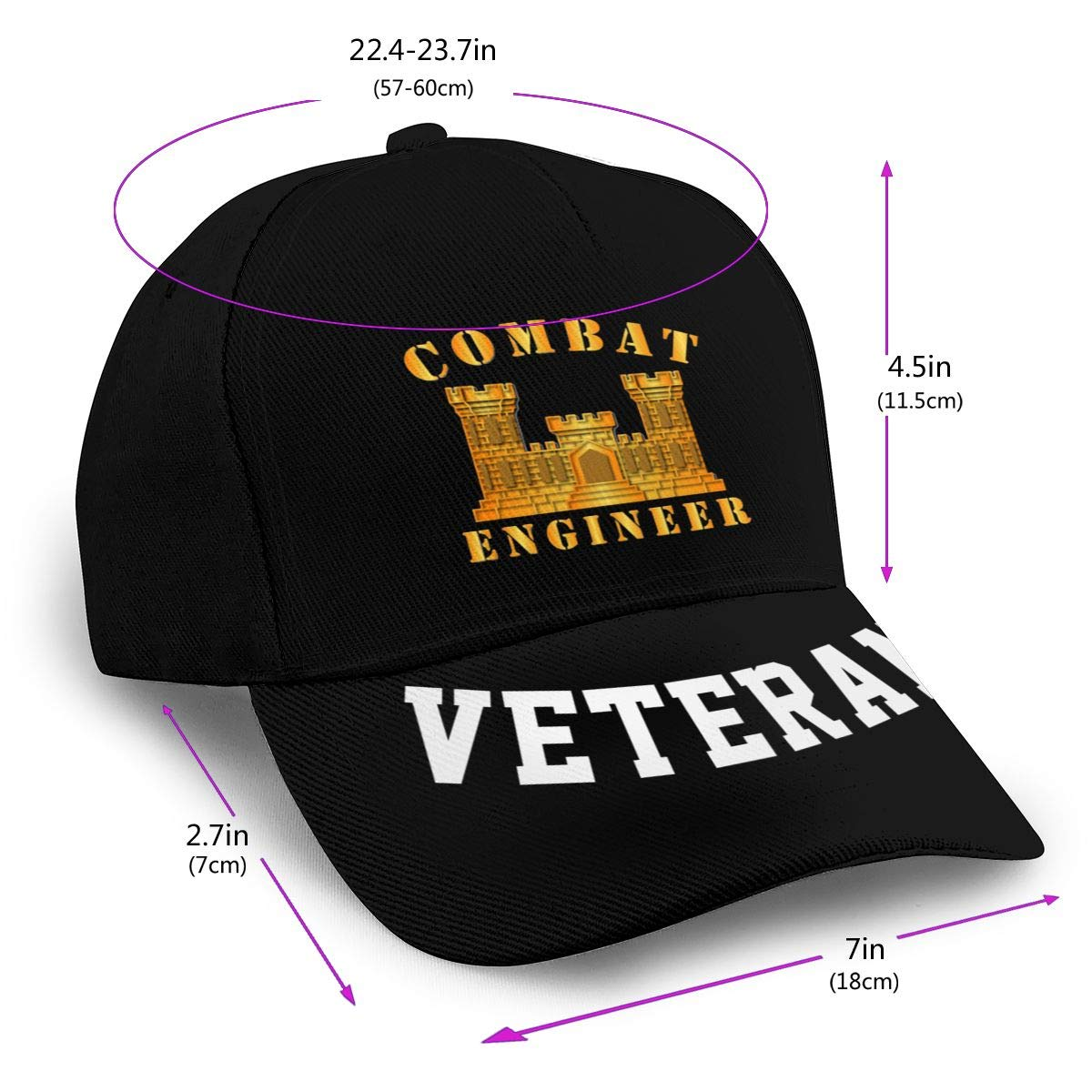 Combat Engineer Baseball Cap Dad Hat Unisex Classic Sports Hat Peaked Cap Veteran Hat