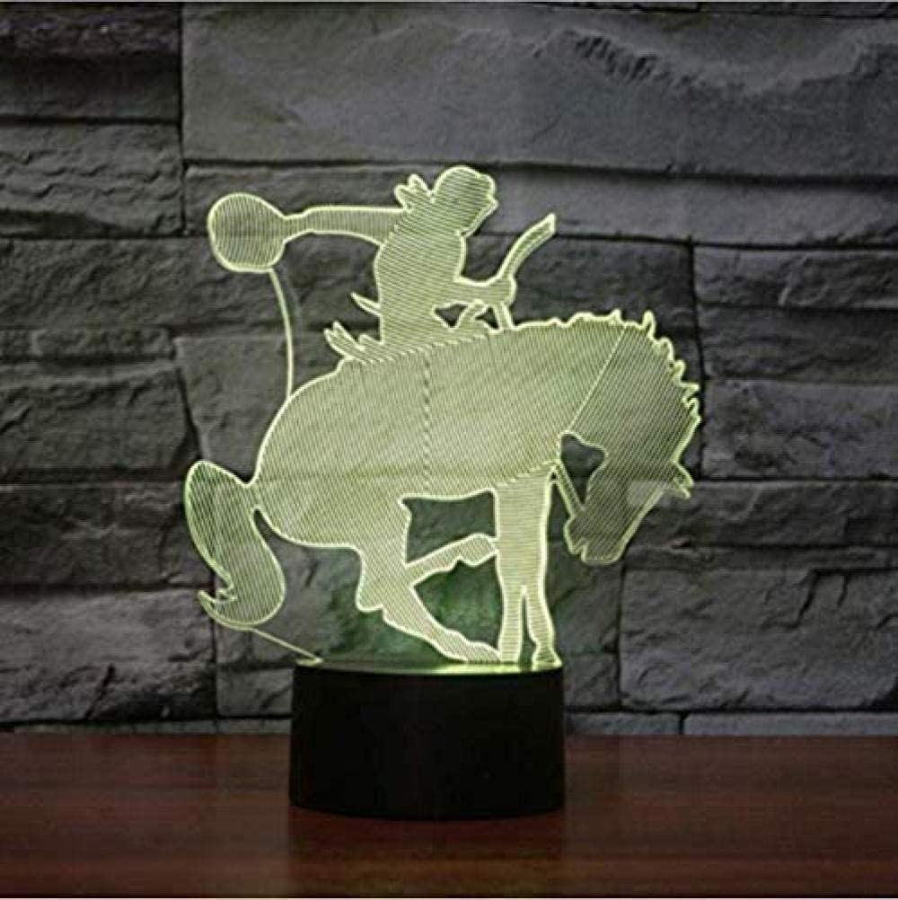 3D Visual Led Creative Night Lights Montar a caballo Modelado USB Dormitorio Lámpara de mesa Decoración para el hogar 7 colores Dream Lighting Regalos para niños