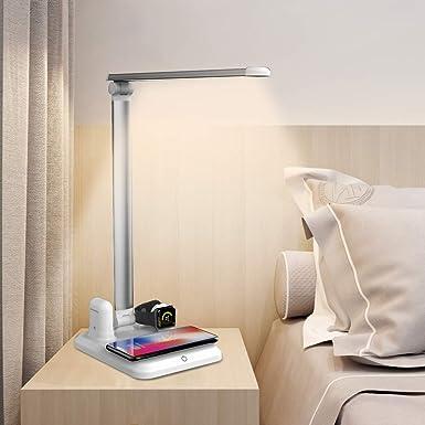 Lámpara Escritorio LED, Lámpara de Mesa con cargador inalámbrico de carga rápida para Phone XS Max/Apple Watch/Airpods para Oficial/Trabajador, ...