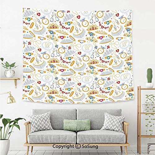 SoSung Pearls Wall Tapestry,Pattern with Accessories Diamond Rings and Earring Figures Image Digital Print Decorative,Bedroom Living Room Dorm Wall Hanging,60X50 Inches,White Yellow