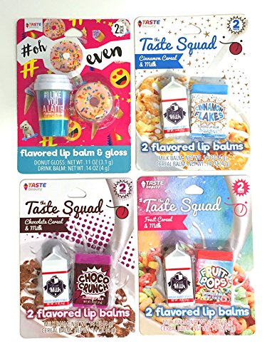 Taste Beauty 4PC Flavored Cereal Lip Balm (Cinnamon Flakes, Choco Crunch, Fruit Pops, Donut)