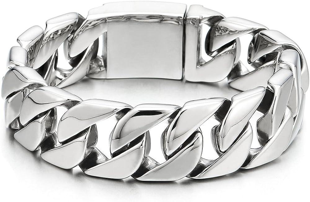 COOLSTEELANDBEYOND Masculine Men's Stainless Steel Black Large Curb Chain Bracelet