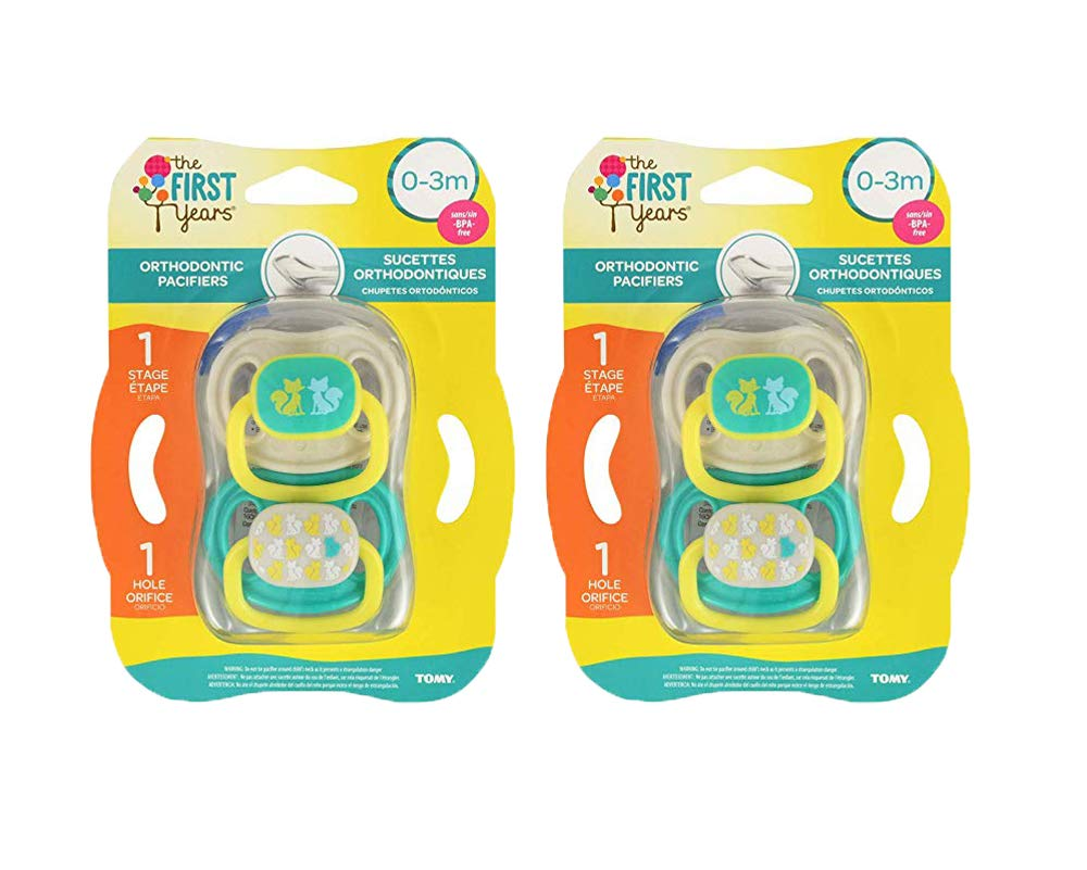 The First Years Animal Print Orthodontic Pacifier, Stage 3, 6-18 Months (2 Pack (4 Pacifiers))