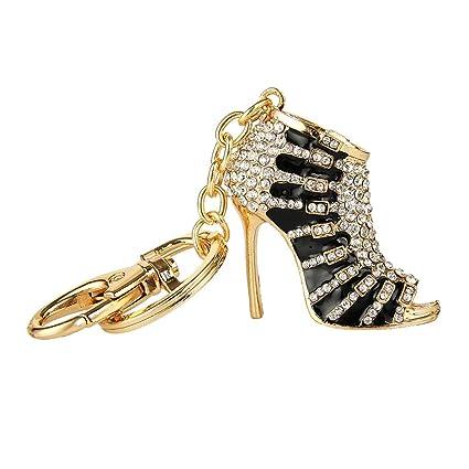 Llavero Pendiente Cadena Anillo Forma de Zapato Negro Tacón Alto Cristal Encanto