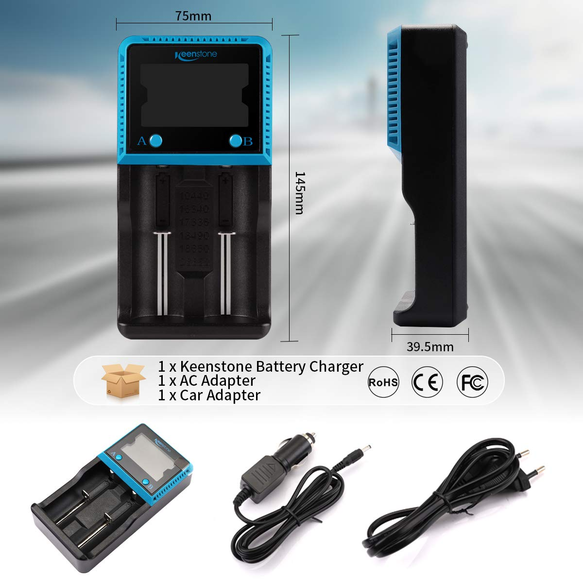 Keenstone Chargeur Piles Universel, Chargeur avec Ecran LCD pour Batteries Rechargeables Li-ION Ni-MH Ni-CD AA AAA LiFePO4 10440 14500 16340 18650 18500 22650 26650 RCR123 Piles Rechargeable