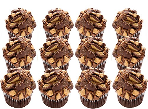 Peanut Butter Cupcakes - Dessert - Chocolate Cake Peanut Butter Cup Frosting- 12 Pack - Baked Fresh Day of Order by House of Cupcakes (Image #2)